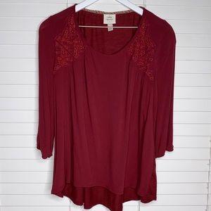Knox Rose Burgundy Tunic Lace Detailing